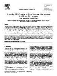 Arginine prevents thermal aggregation of hen egg white proteins a sensitive hplc method to detect hens egg white lysozyme in milk and dairy products fandeluxe Gallery